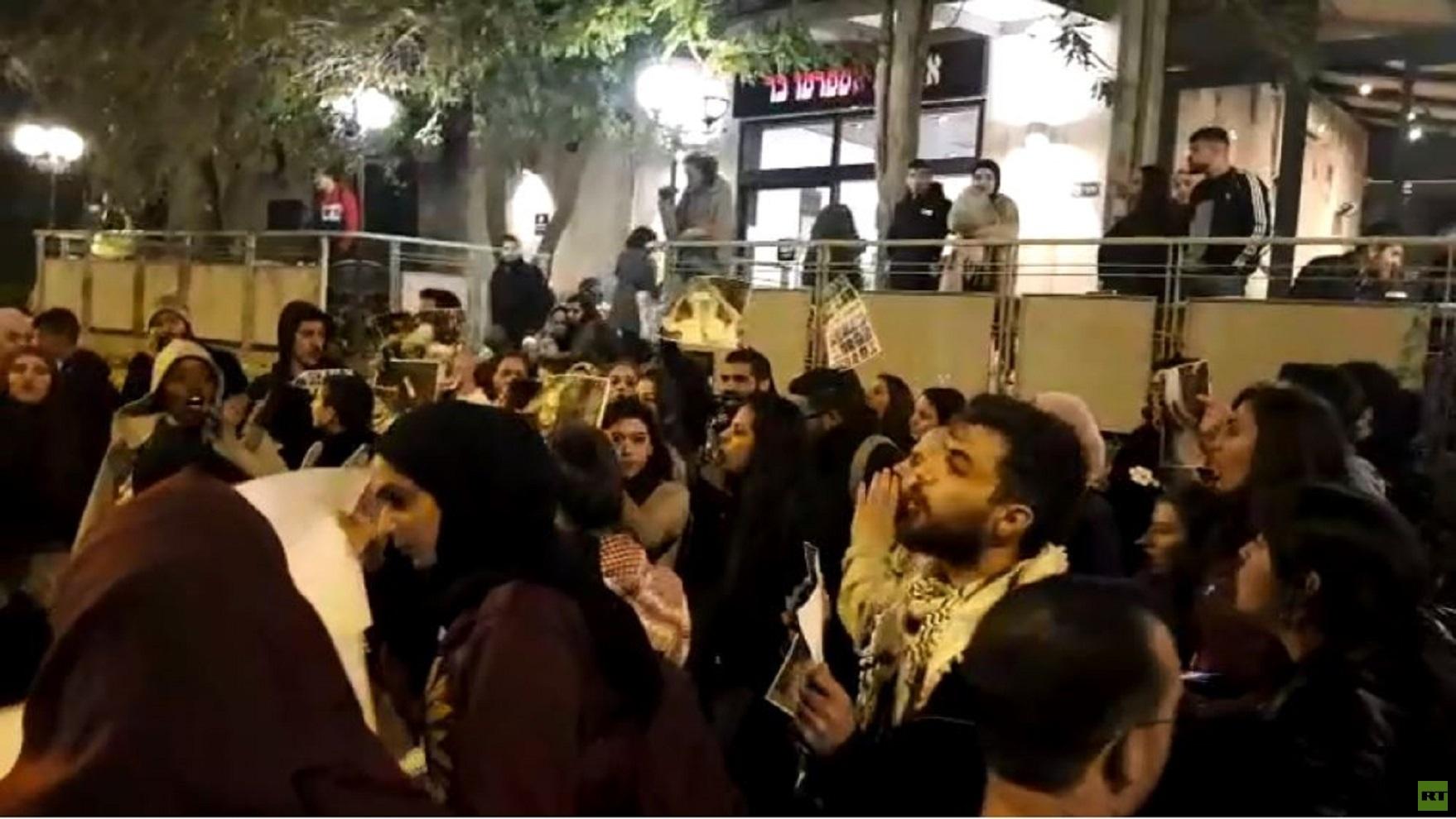 وقفة تضامنية مع قطاع غزة قبالة الجامعة العبرية في القدس