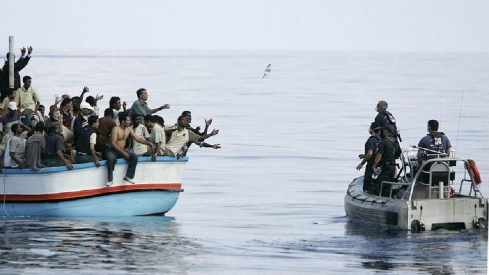 مجموعة من المهاجرين غير الشرعيين - أرشيف