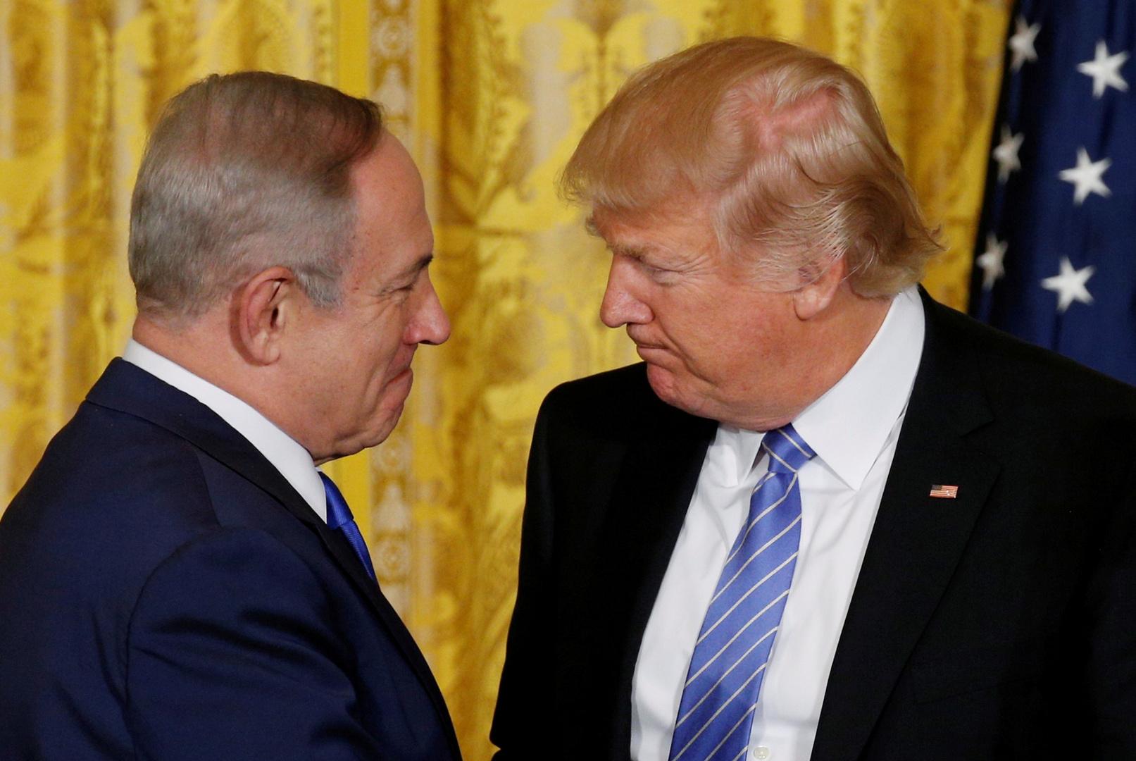 الرئيس الأمريكي، دونالد ترامب، ورئيس الوزراء الإسرائيلي، بنيامين نتنياهو، خلال لقائهما في واشنطن يوم 18 يوليو 2019