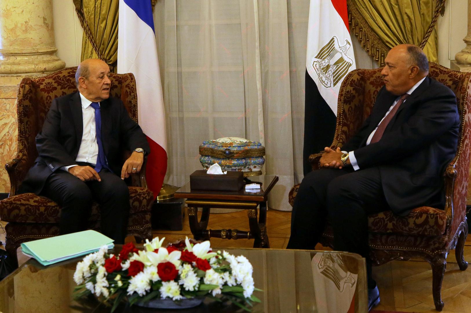 وزيرا الخارجية المصري، سامح شكري، والفرنسي، جان إيف لودريان - أرشيف