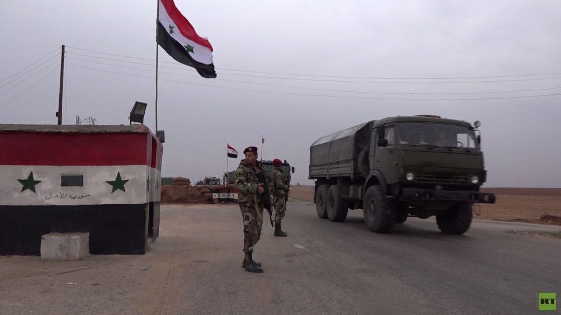 آرتي ترصد وصول مدرعات وشاحنات عسكرية روسية الى مطار القامشلي