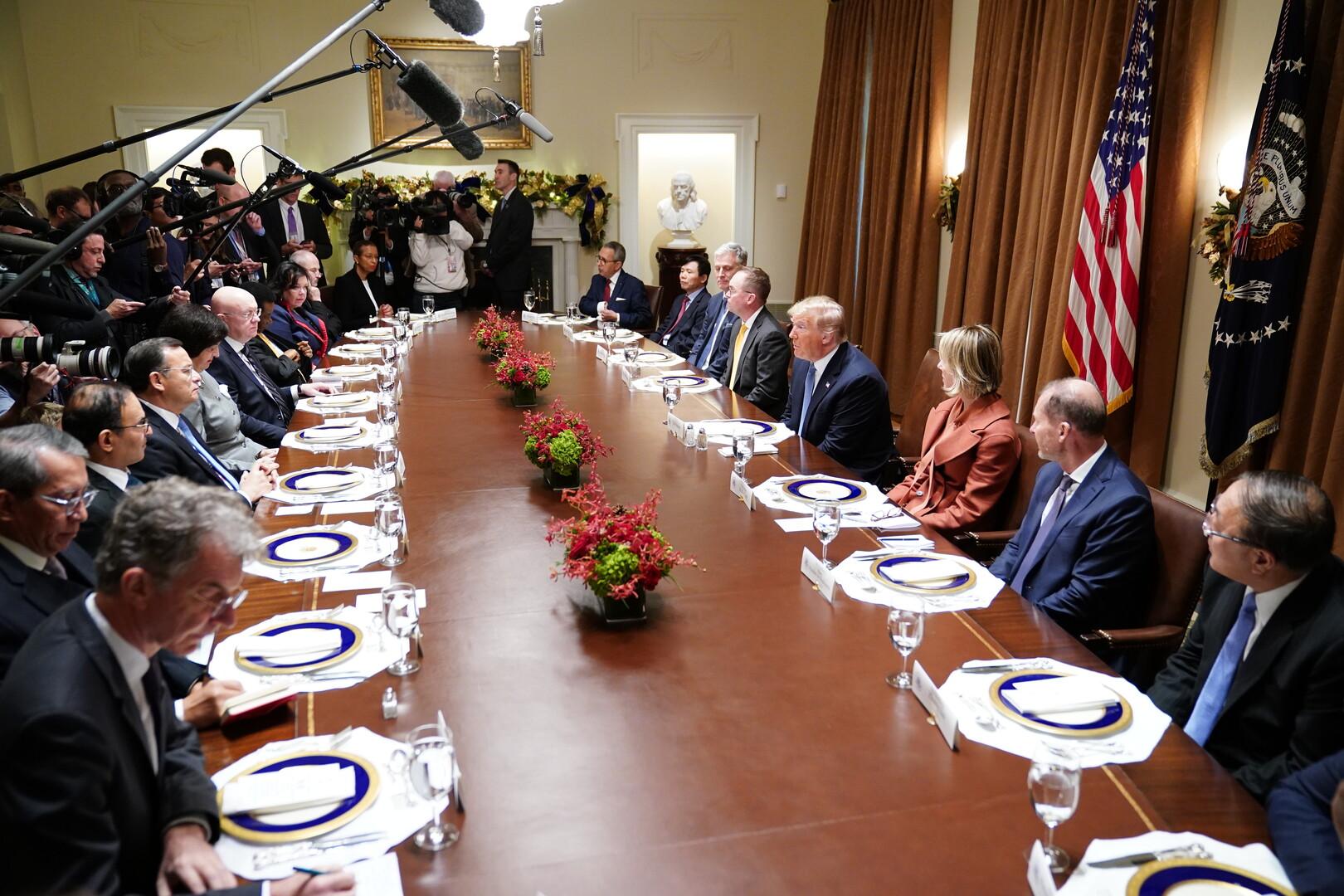 اجتماع للرئيس الأمريكي، دونالد ترامب، مع سفراء الدول الأعضاء في مجلس الأمن الدولي (البيت الأبيض، 5 ديسمبر 2019)