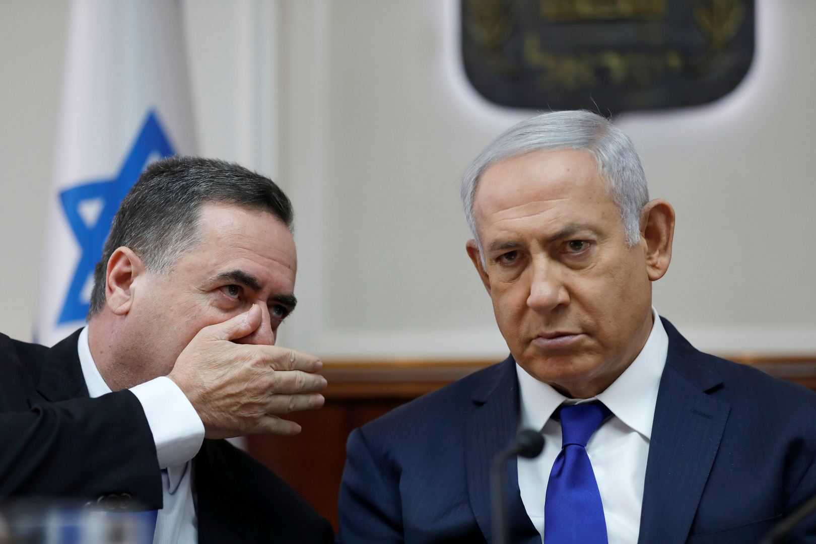 رئيس الوزراء الإسرائيلي، بنيامين نتنياهو، ووزير الخارجية والاستخبارات لإسرائيل، يسرائيل كاتس