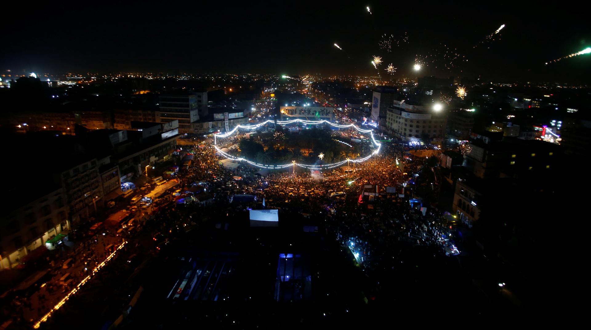 مراسلنا: توافد كبير على ساحة التحرير في بغداد من المحافظات الجنوبية