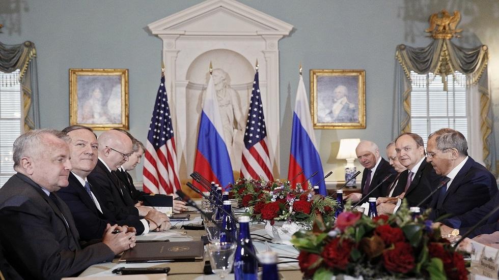 اجتماع وزير الخارجية الروسي/ سيرغي لافروف بنظيره الأمريكي/ مايكل بومبيو