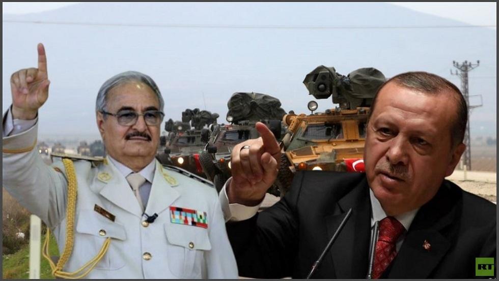 """الرئيس التركي رجب طيب أردوغان وقائد """"الجيش الليبي"""" المشير خليفة حفتر"""