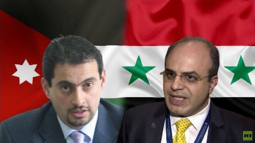 وزير الاقتصاد والتجارة الخارجية السوري، محمد سامر الخليل، ووزير الصناعة والتجارة والتموين الأردني، طارق الحموري