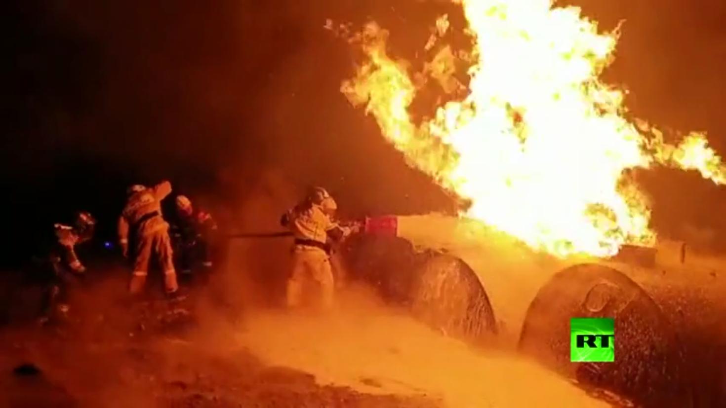 النار تأتي على صهاريج وقود بالشيشان جنوبي روسيا