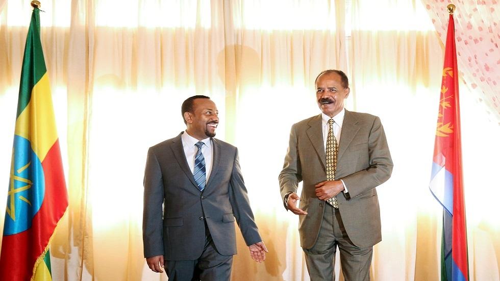 الرئيس الإريتريي إسياس أفورقي في ضيافة رئيس وزراء إثيوبيا أبي أحمد في أديس أبابا عام 2018