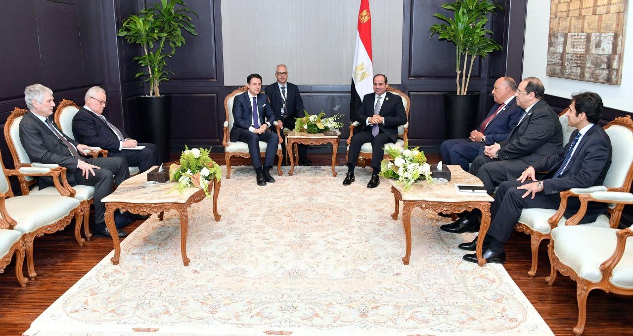 الرئيس المصري، عبد الفتاح السيسي، يستقبل رئيس الوزراء الإيطالي، جوزيبي كونتي (شرم الشيخ، 25 فبراير 2019).