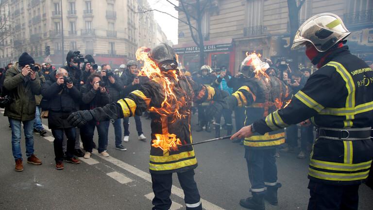 باريس... اشتباكات عنيفة بين الشرطة ورجال إطفاء خلفت 28 جريحا