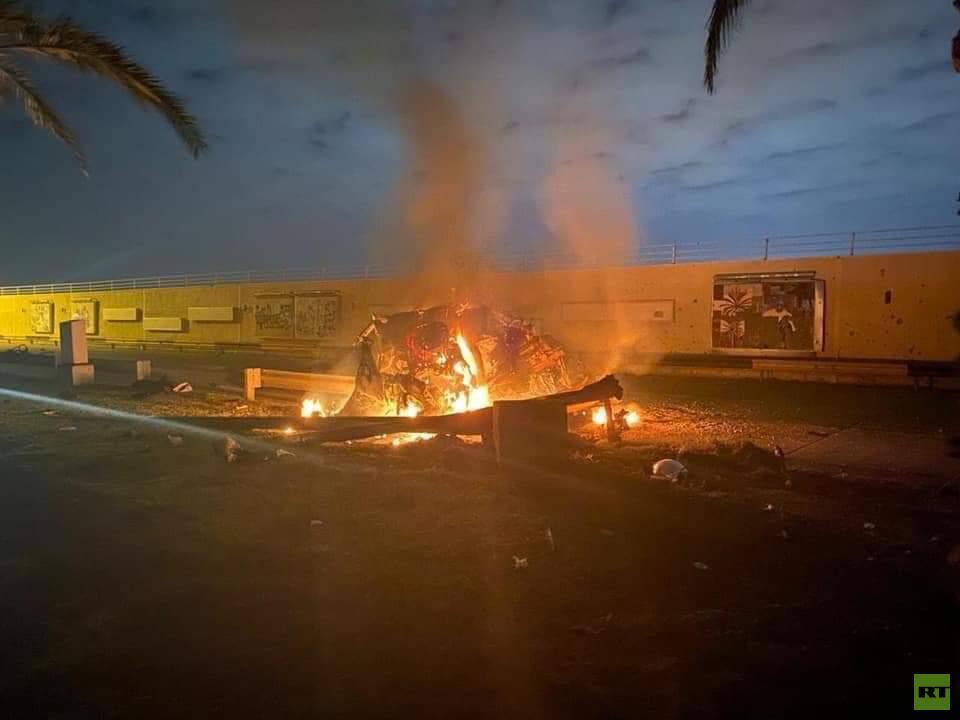 مقتل قاسم سليماني قائد فيلق القدس والقيادي في الحشد الشعبي أبو مهدي المهندس في قصف أمريكي