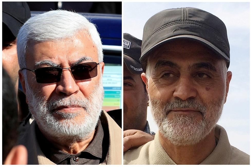 قائد فيلق القدس الإيراني  قاسم سليماني وأبو مهدي المهندس القيادي بالحشد الشعبي العراقي