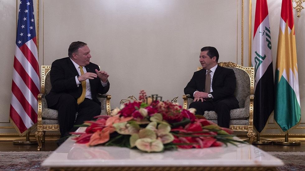اجتماع رئيس حكومة إقليم كردستان  العراق مسرور بارزاني ووزير الخارجية الأمريكي مايك بومبيو في أربيل في يناير عام 2019