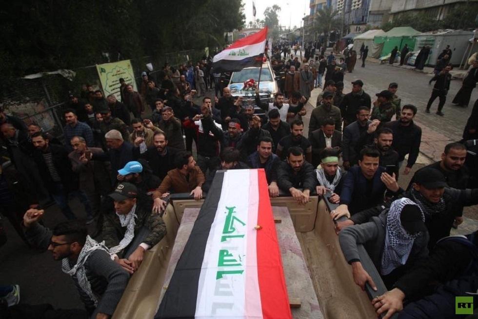 تشييع حاشد للمهندس وسليماني في بغداد