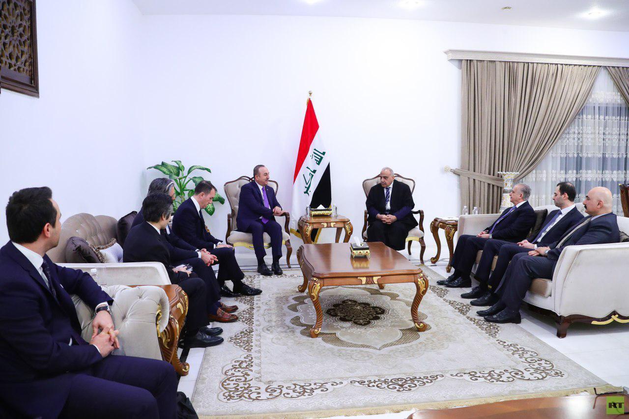 عبد المهدي يستقبل وزير الخارجية التركي في بغداد