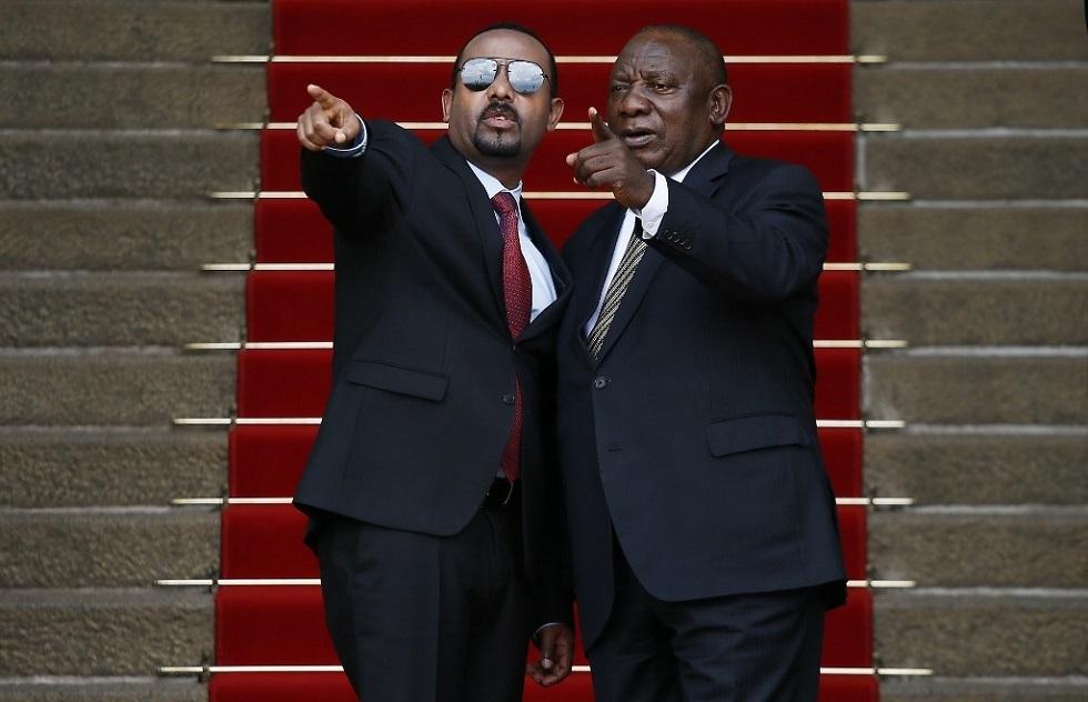 رئيس الوزراء الإثيوبي، أبي أحمد، ورئيس جنوب إفريقيا سيريل رامافوزا