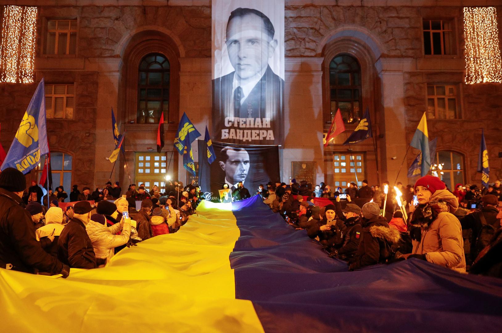 صورة لستيبان بانديرا على واجهة مبنى إدارة كييف