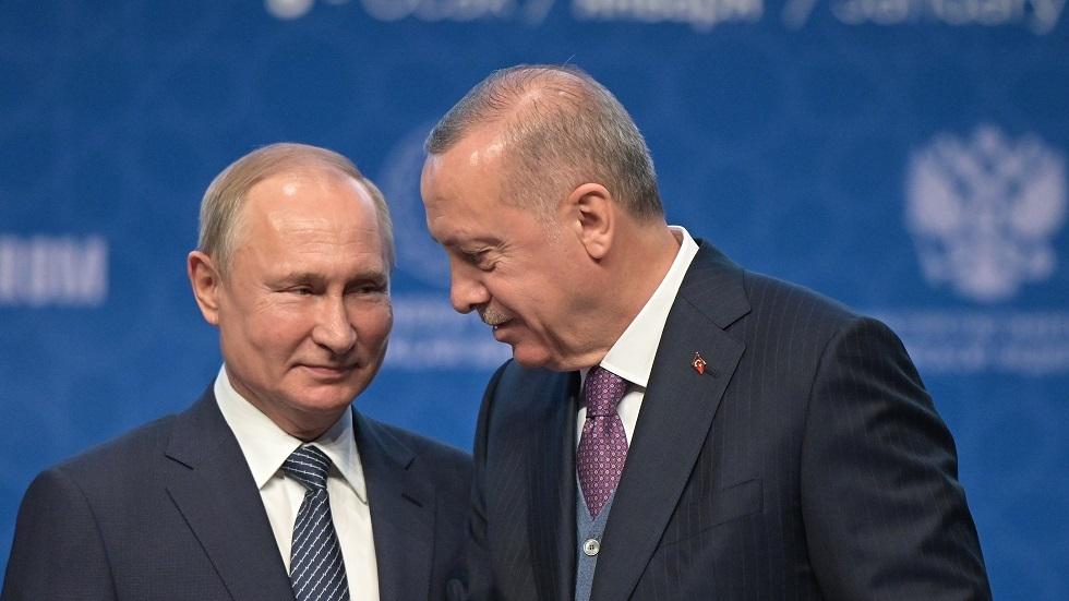 لقاء الرئيسين بوتين وأردوغان أثناء افتتاح خط السيل التركي في 8 يناير2020