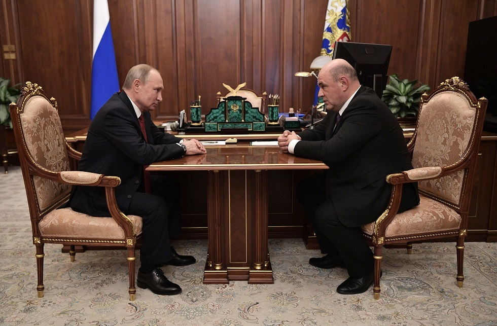 بوتين ورئيس الوزراء الروسي الجديد ميخائيل ميشوستين