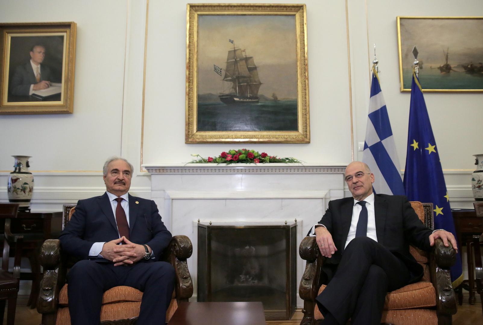 اليونان تحثّ حفتر على اتخاذ موقف بناء في برلين