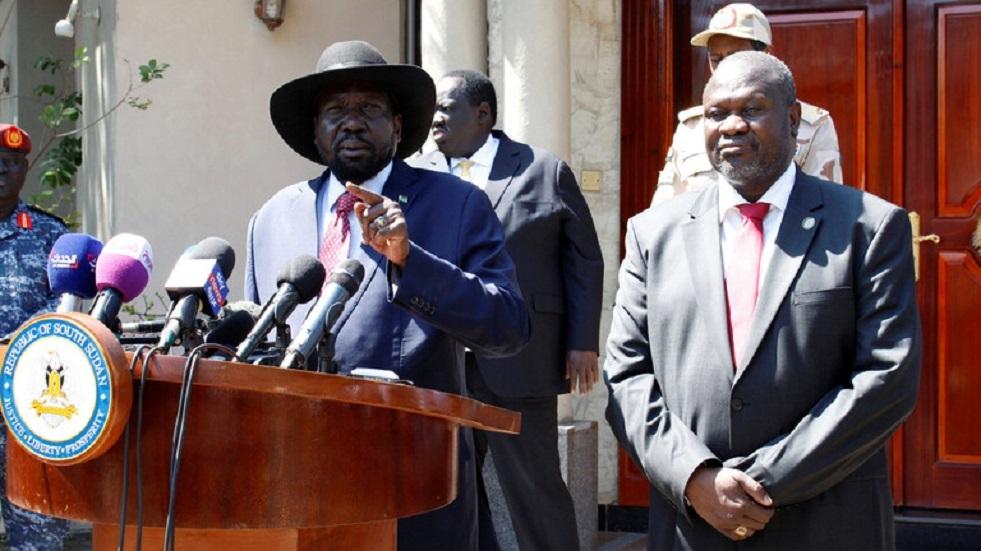 رئيس جنوب السودان سلفا كير والزعيم السابق للتمرد المسلح، رياك مشار