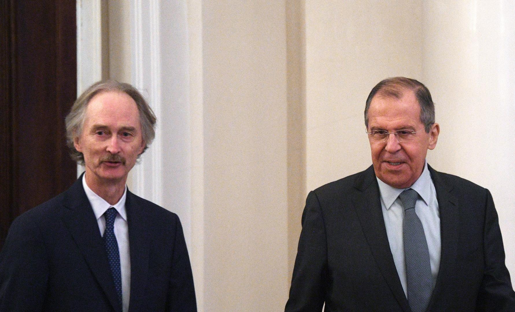 وزير الخارجية الروسي، سيرغي لافروف، والمبعوث الأممي الخاص إلى سوريا، غير بيدرسن (موسكو، 21 يناير 2019).