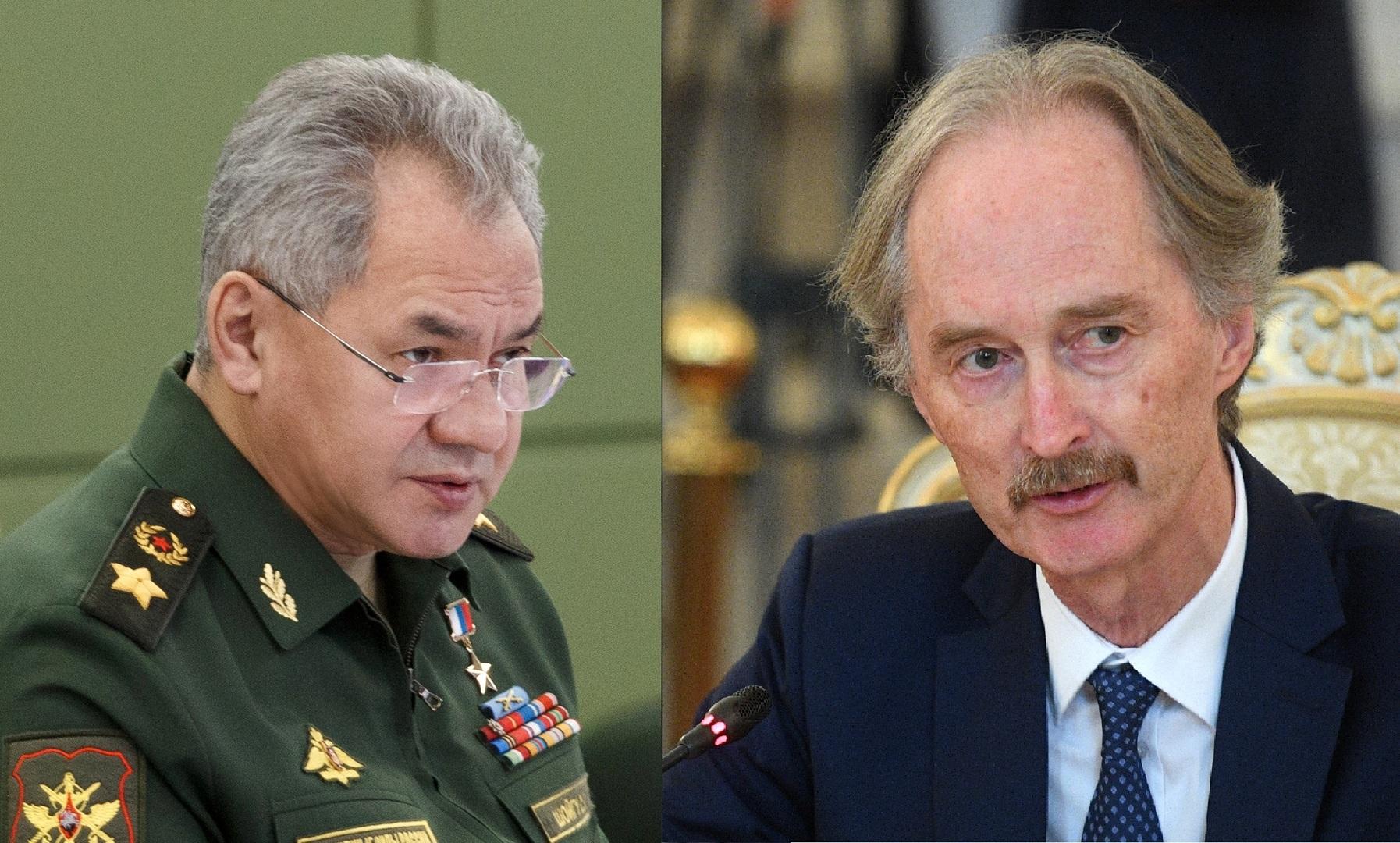 المبعوث الأممي الخاص إلى سوريا، غير بيدرسن، ووزير الدفاع الروسي، سيرغي شويغو،