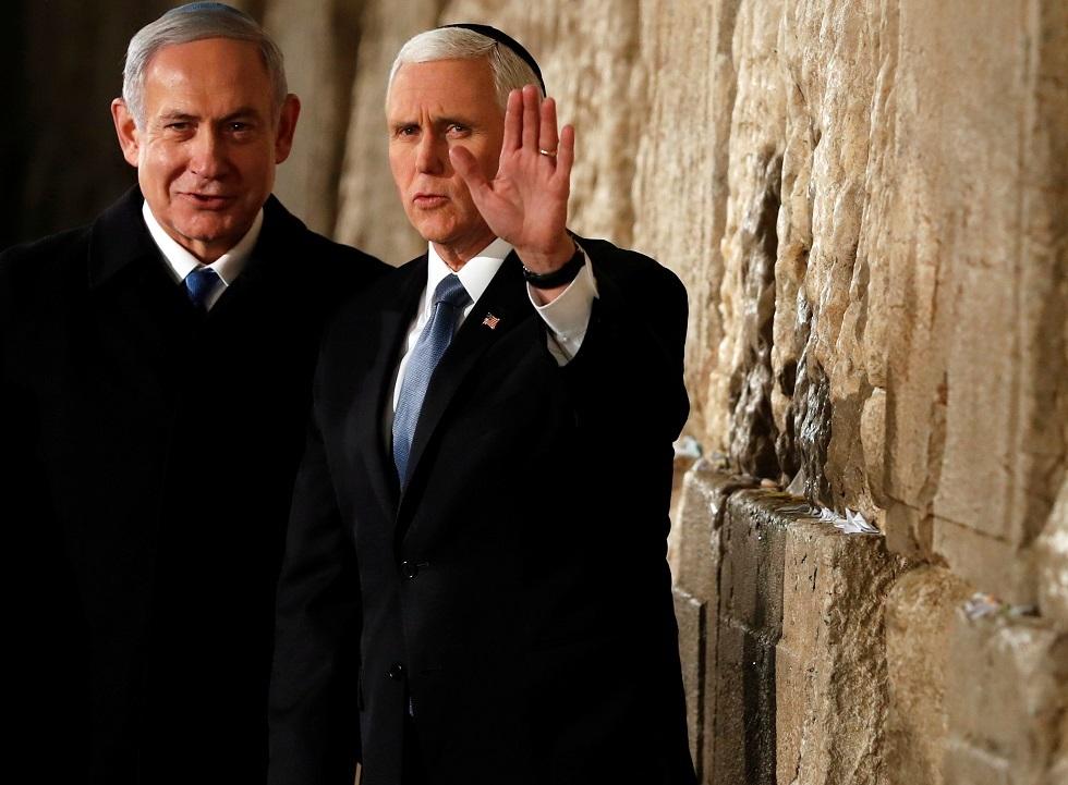 نائب الرئيس الأمريكي مايك بنس ورئيس الوزراء الإسرائيلي بنيامين نتنياهو