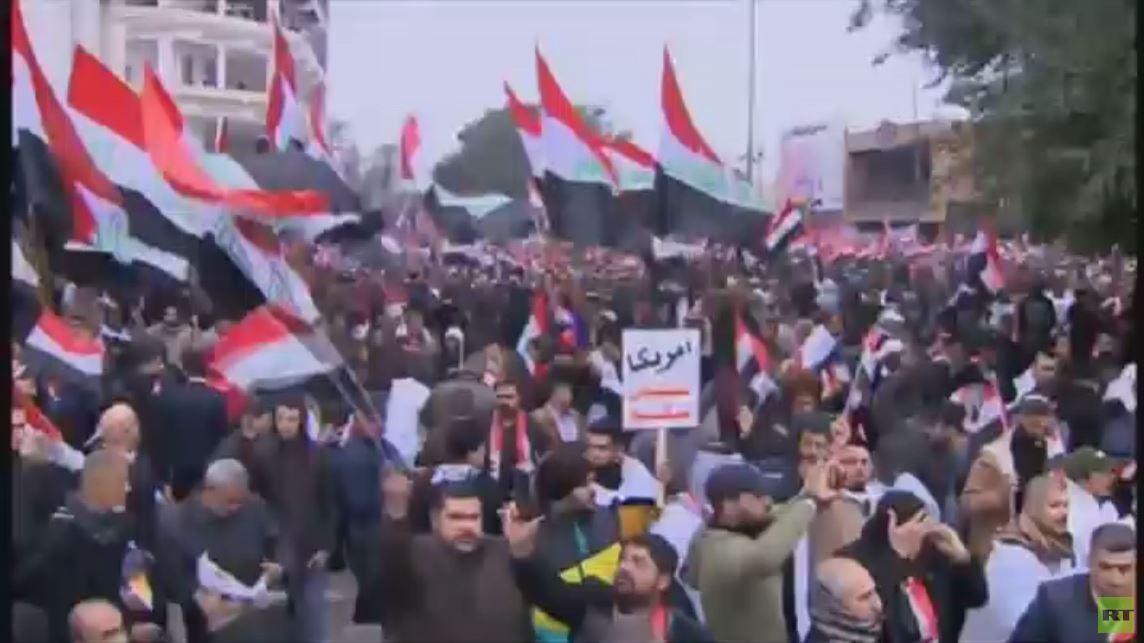 تظاهرات حاشدة في بغداد تطالب بإنهاء وجود القوات الأمريكية في العراق