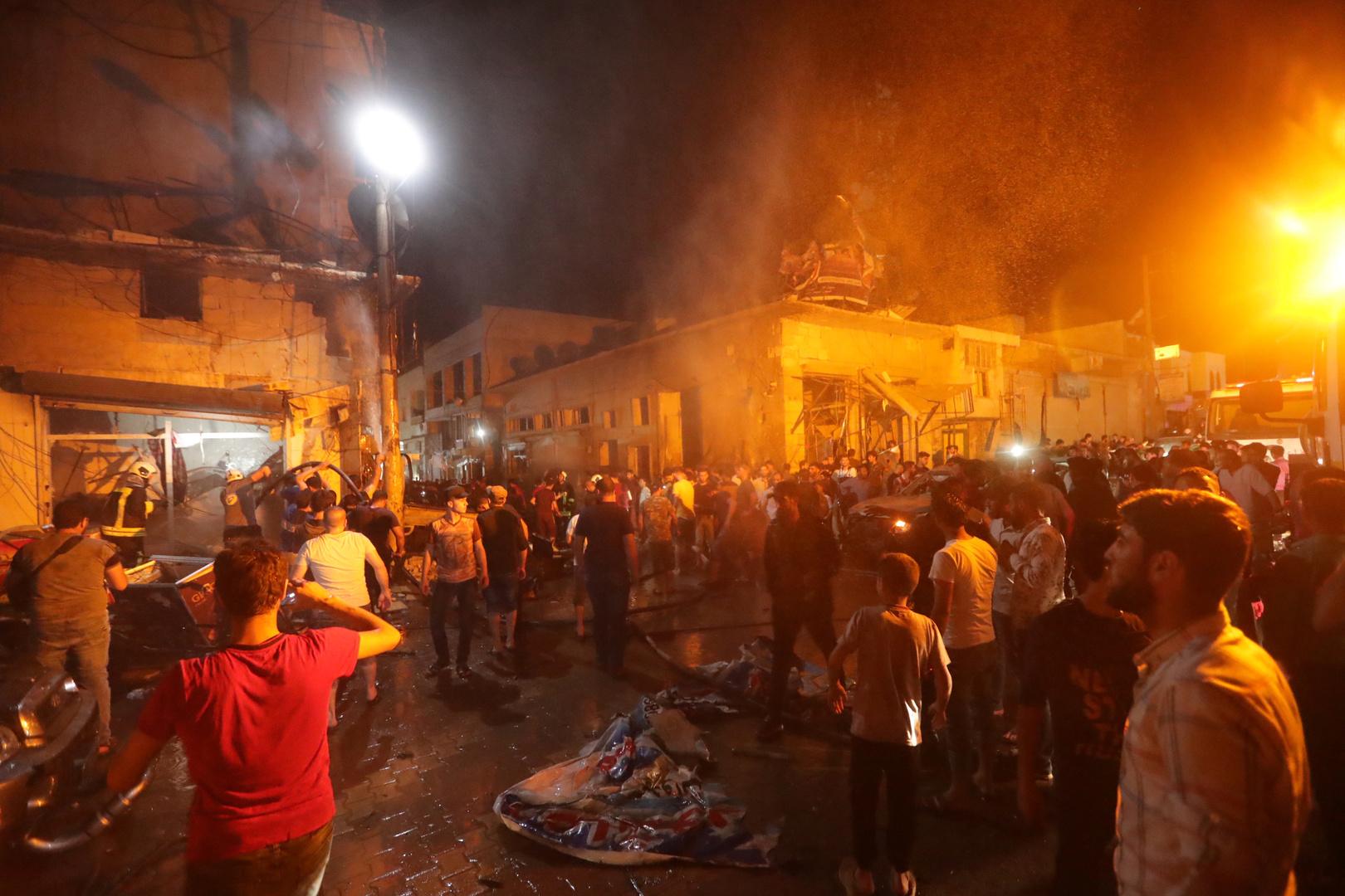 موقع انفجار في مدينة إعزاز شمال سوريا