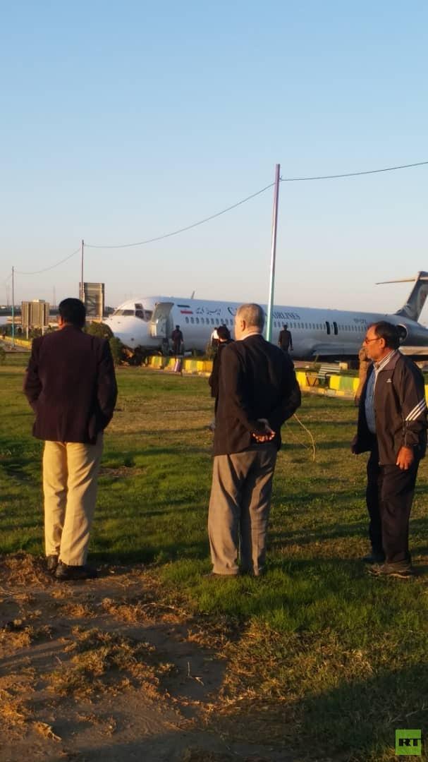 خروج طائرة ركاب عن المدرج أثناء هبوطها في مطار ماهشهر جنوب إيران