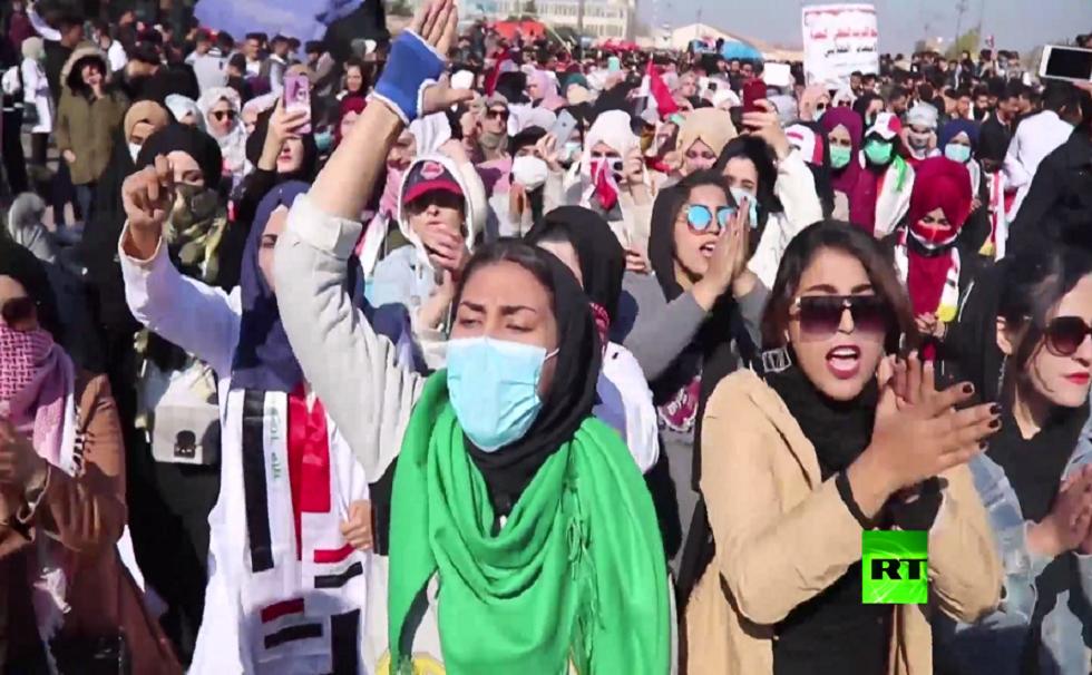 مظاهرات طلابية حاشدة  في مدينة البصرة