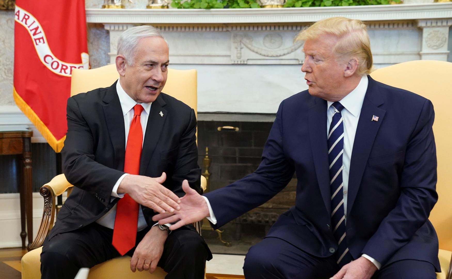 رئيس الوزراء الإسرائيلي بنيامين نتنياهو، مع الرئيس الأمريكي دونالد ترامب