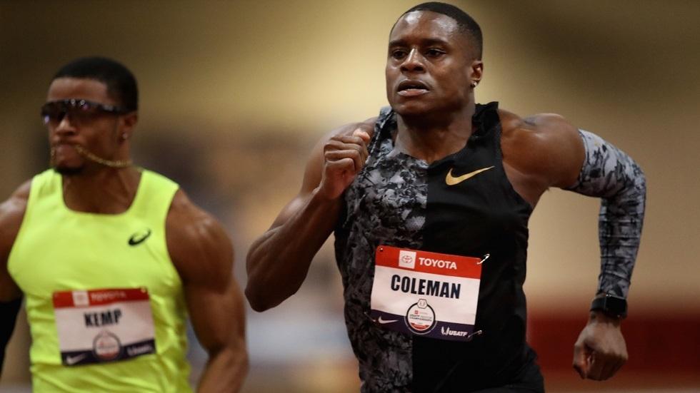 كولمان يسجل أسرع زمن في سباق 60 مترا في الموسم الحالي