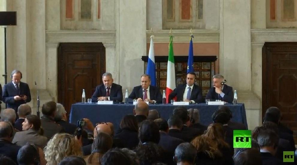 وزراء الخارجية والدفاع لروسيا وإيطاليا في مؤتمر صحفي مشترك