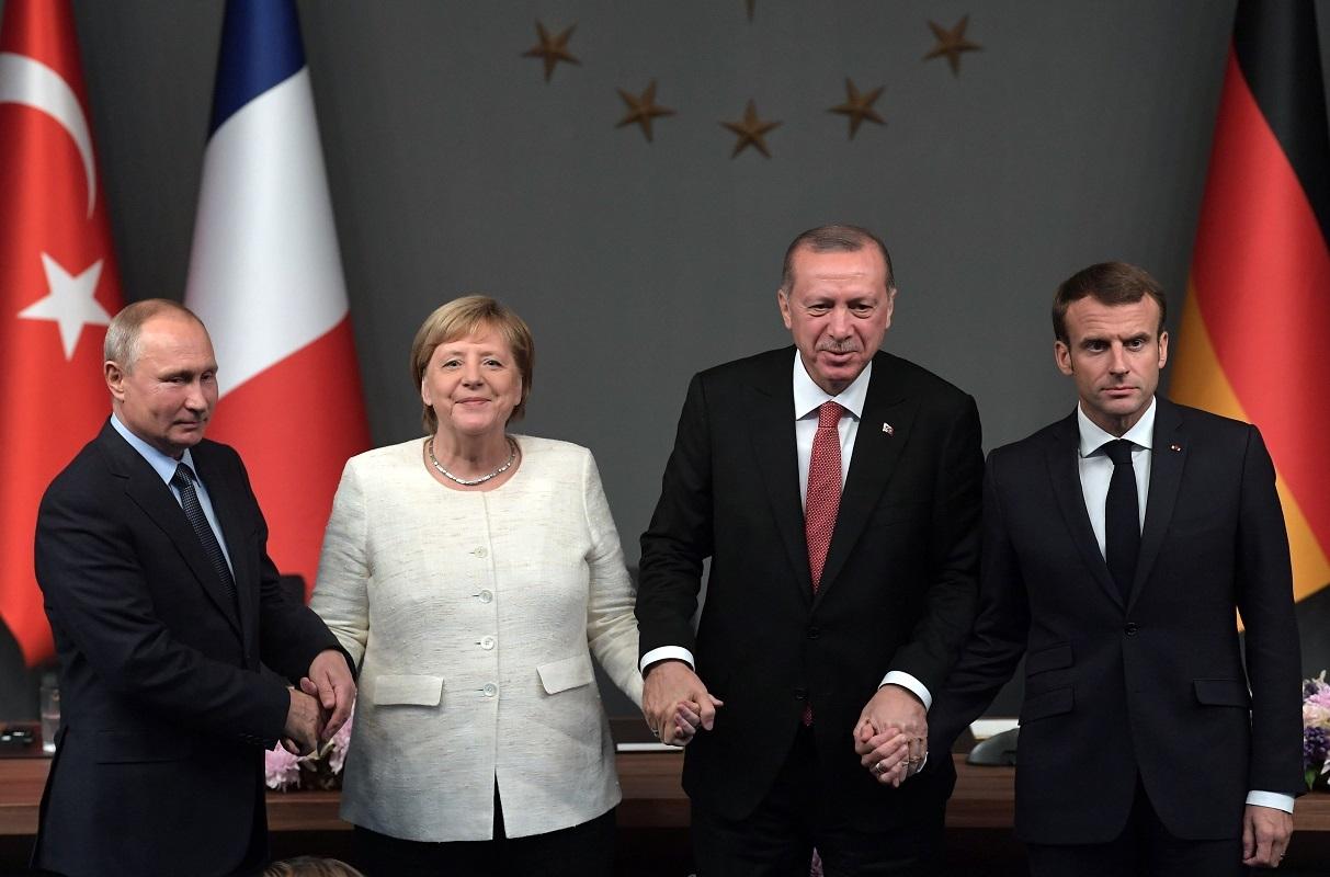 فلاديمير بوتين، أنغيلا ميركل، إيمانويل ماكرون، رجب طيب أردوغان - أرشيف