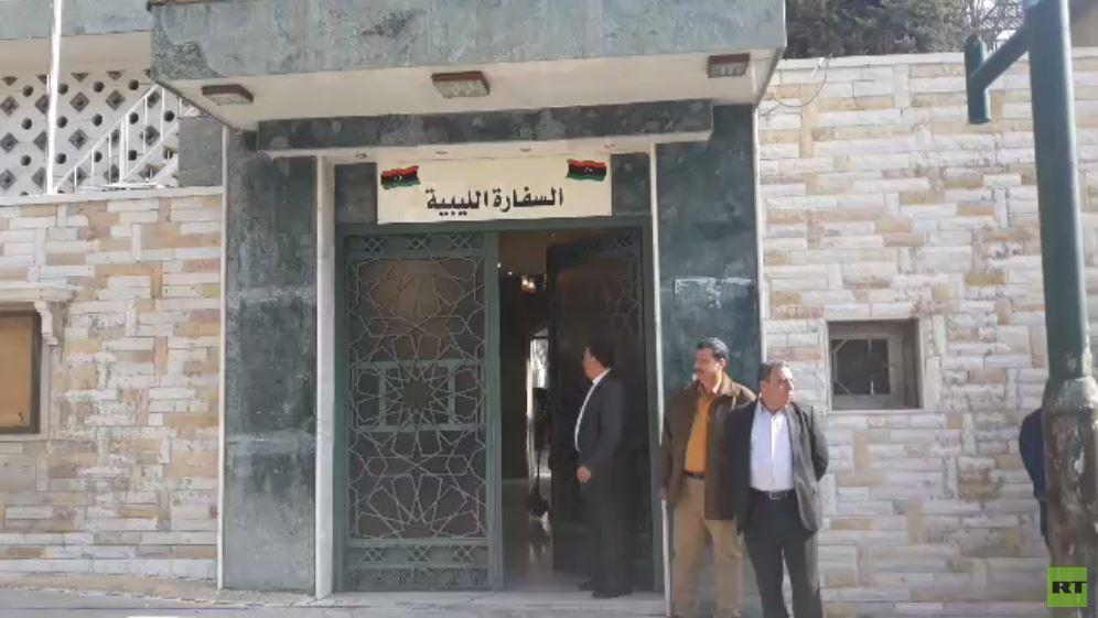 تحضيرات لافتتاح السفارة الليبيه في دمشق (فيديو)