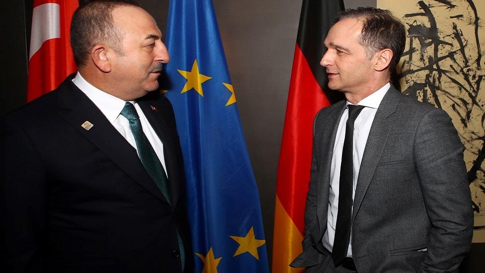وزير الخارجية التركي مولود تشاووش أوغلو ونظيره الألماني هيكو ماس خلال مؤتمر ميونيخ للأمن في فبراير 2020