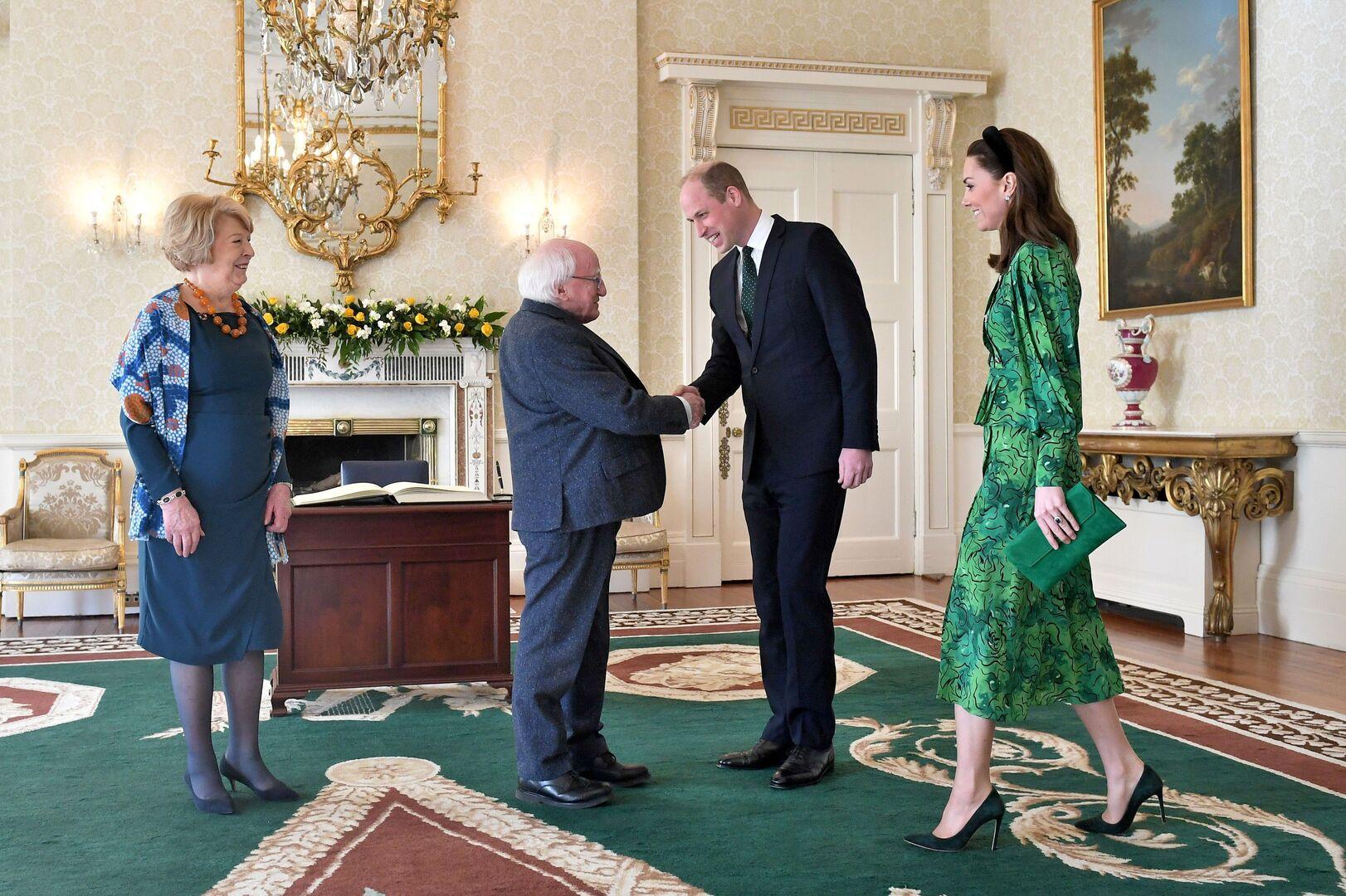 الرئيس الإيرلندي وزوجته يستقبلان الأمير ويليم وزوجته