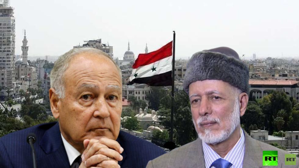 وزير الخارجية العماني يوسف بن علوي والأمين العام لجامعة الدول العربية أحمد أبو الغيط