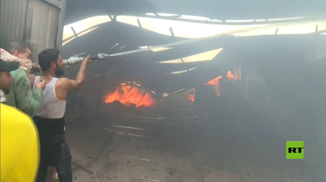 حريق في قطاع غزة بسبب انفجار اسطوانات غاز