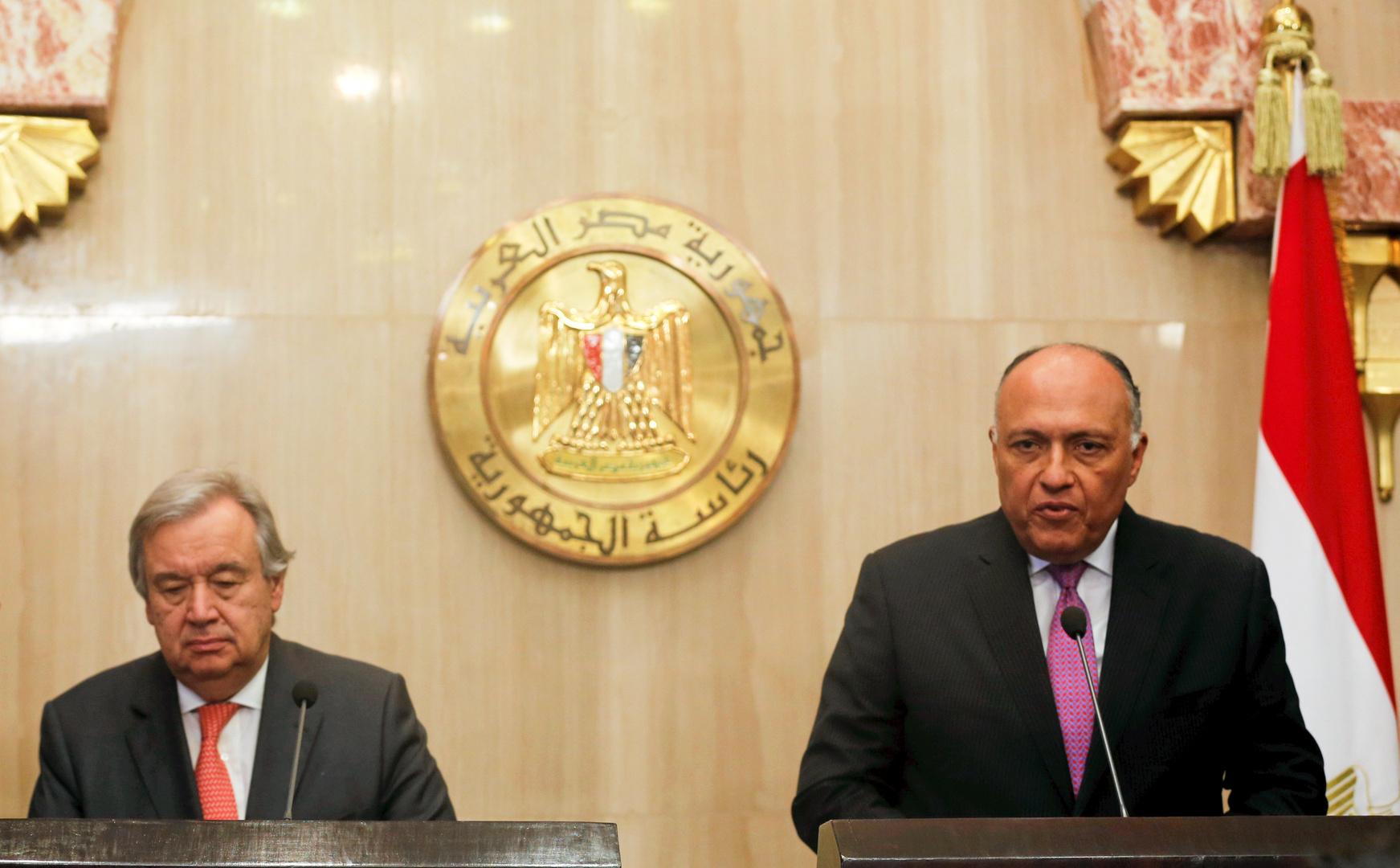 وزير الخارجية المصري، سامح شكري، والأمين العام للامم المتحدة، أنطونيو غوتيريش (أرشيف).