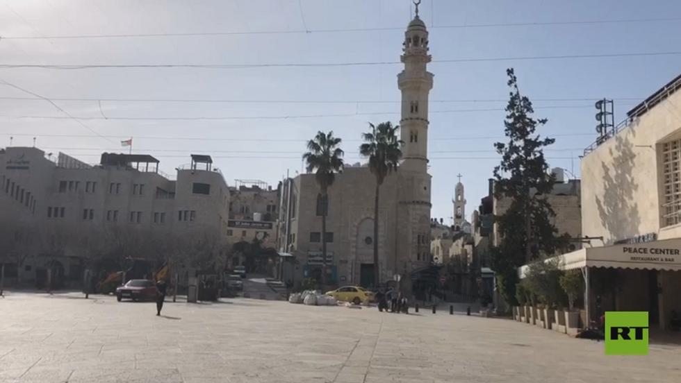 شوارع بيت لحم في فلسطين خالية والمحلات التجارية أغلقت أبوابها بسبب كورونا