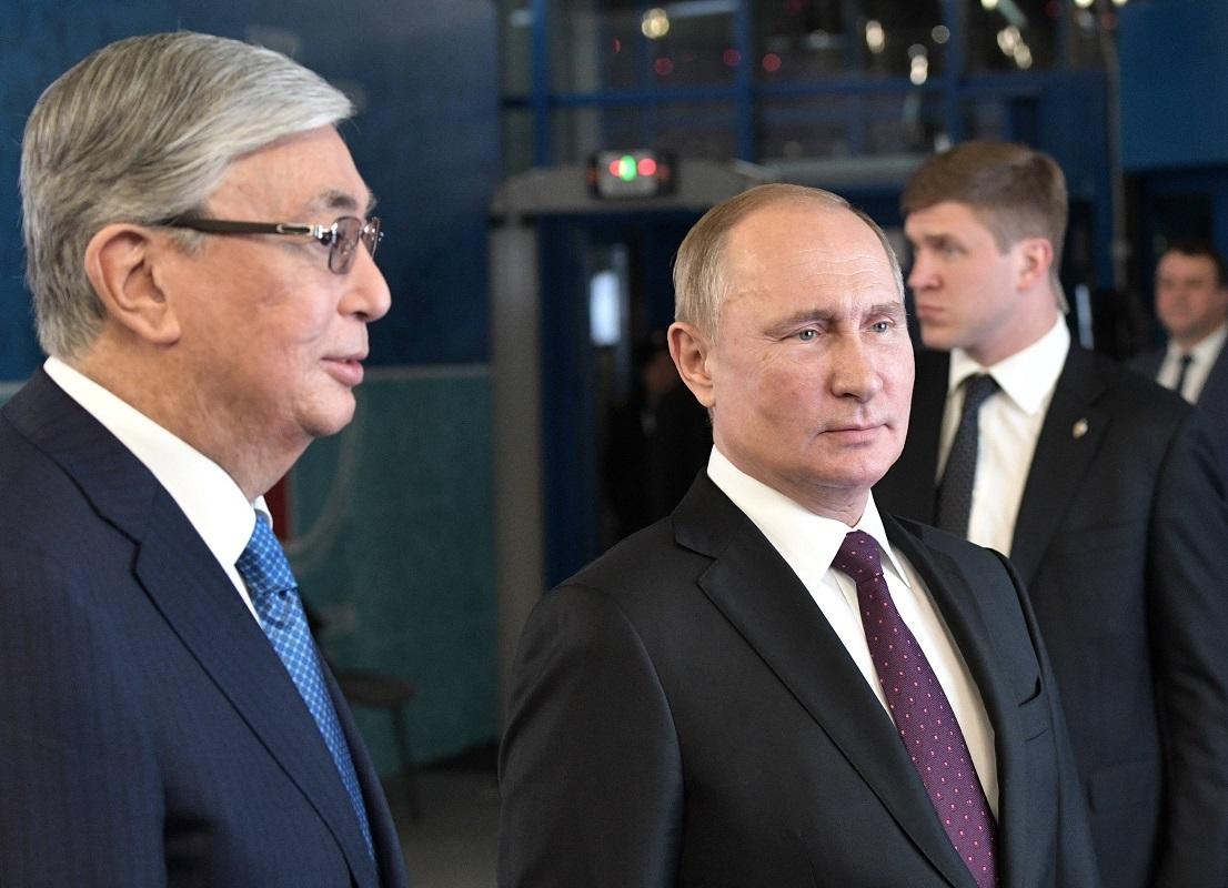 الرئيس الروسي، فلاديمير بوتين، ونظيره الكازاخستاني، قاسم جومارت توكاييف - أرشيف