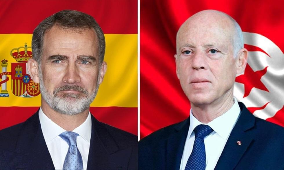 الرئيس التونسي قيس سعيد، وملك إسبانيا فيليب السادس
