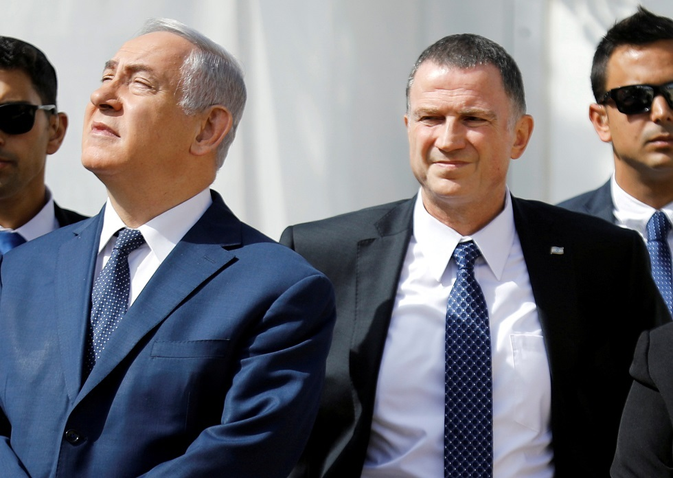 رئيس الكنيست يولي إدلشتاين ورئيس الوزراء الإسرائيلي بنيامين نتنياهو