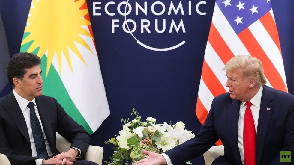 الرئيس الأمريكي دونالد ترامب ورئيس إقليم كردستان العراق نيجرفان بارزاني