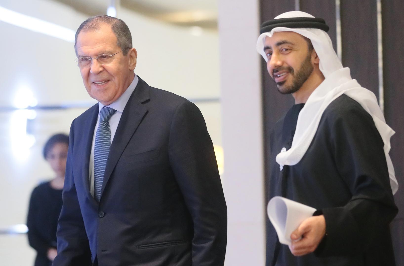 وزيرا الخارجية الروسي والإماراتي سيرغي لافروف وعبد الله بن زايد آل نهيان - صورة أرشيفية