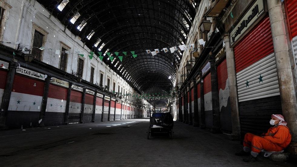 سوق الحميدية الشهير في دمشق مقفر بسبب إجراءات مكافحة كورونا